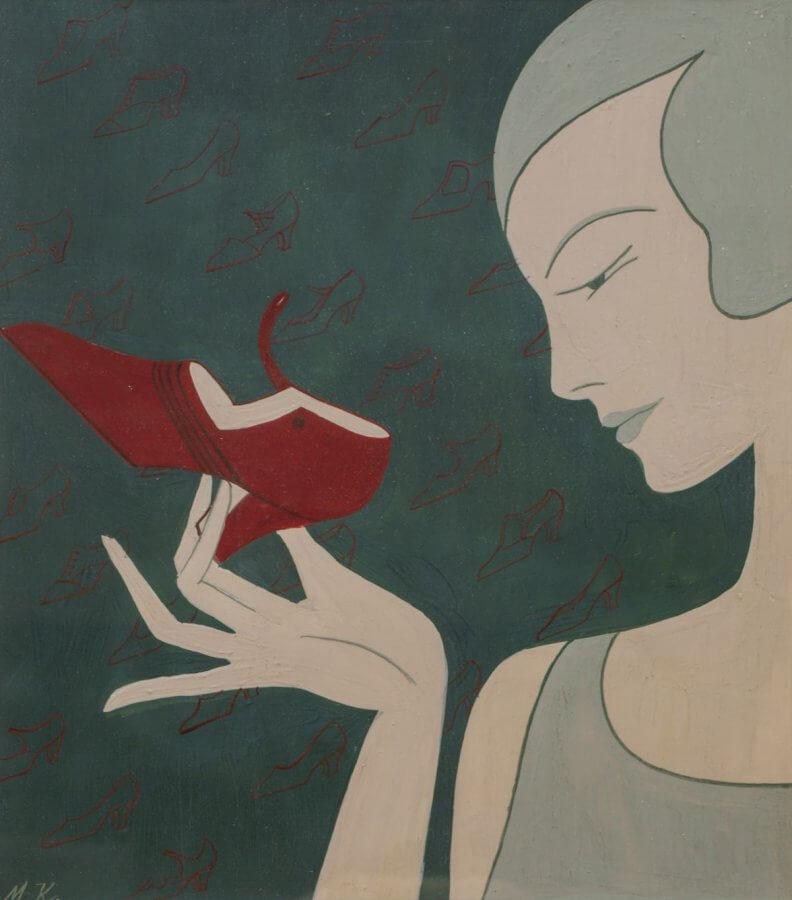 En reklamteckning där en elegant dam håller i en sko med hög klack.