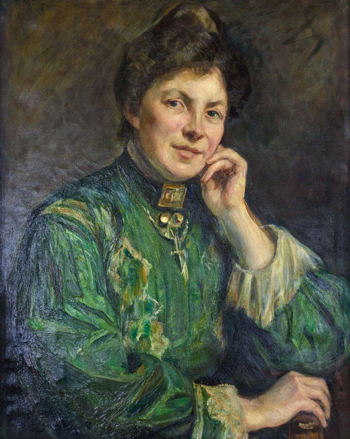 En målning av en kvinna i festklänning, hon lutar huvudet i ena handen.