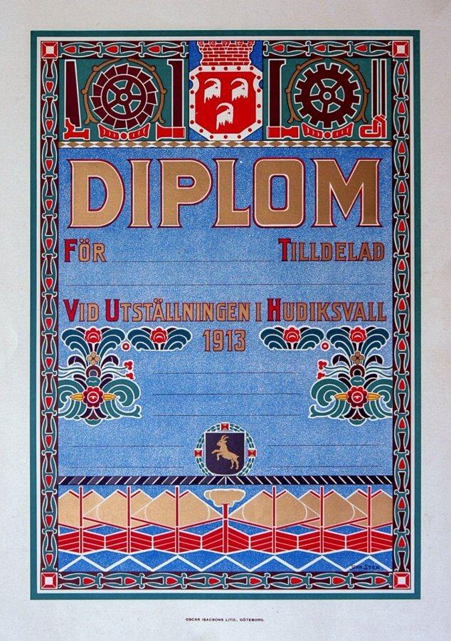 Ett dekorerat diplom för en industriutställning i Hudiksvall år 1913.