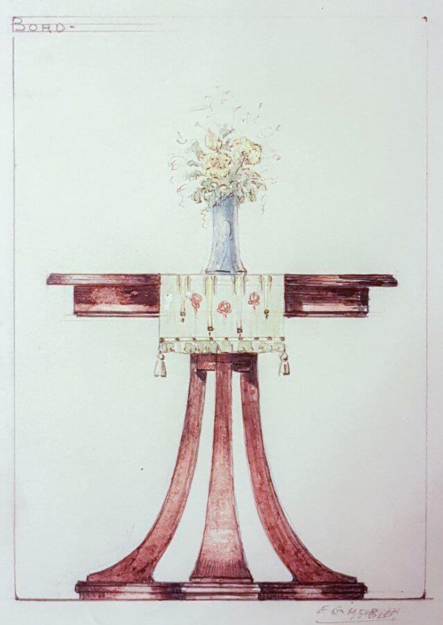 En färglagd skiss av ett litet bord med svängda ben och en duk och en blomstervas ovanpå.
