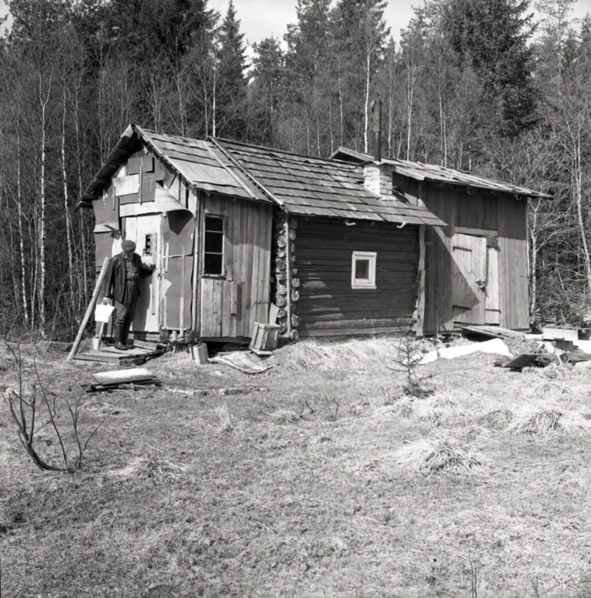 En stuga i skogen är påbyggd två gånger från den ursprungliga timrade stugan.