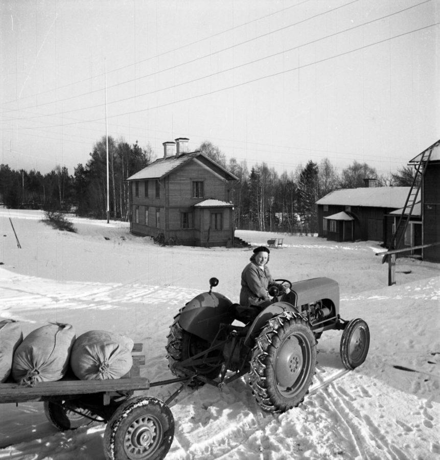 En kvinna kör en traktor som drar ett släp med några säckar.