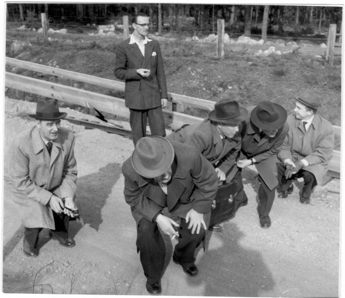 En grupp män går nedhukade längs en väg.
