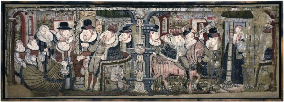 Väggmålning som avbildar den gammaltestamentliga berättelsen om Ester