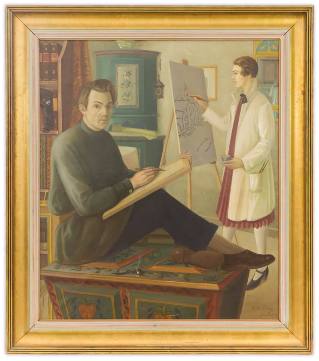 Dubbelporträtt av konstnärsparet Marthe och Gösta Bohm.