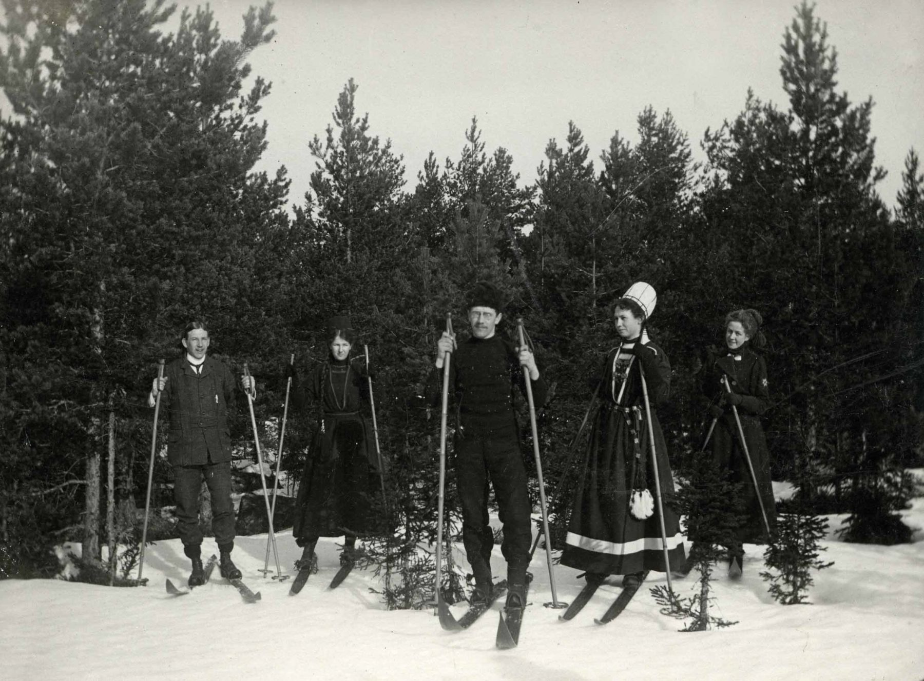 Skidgrupp vid skogsbryn