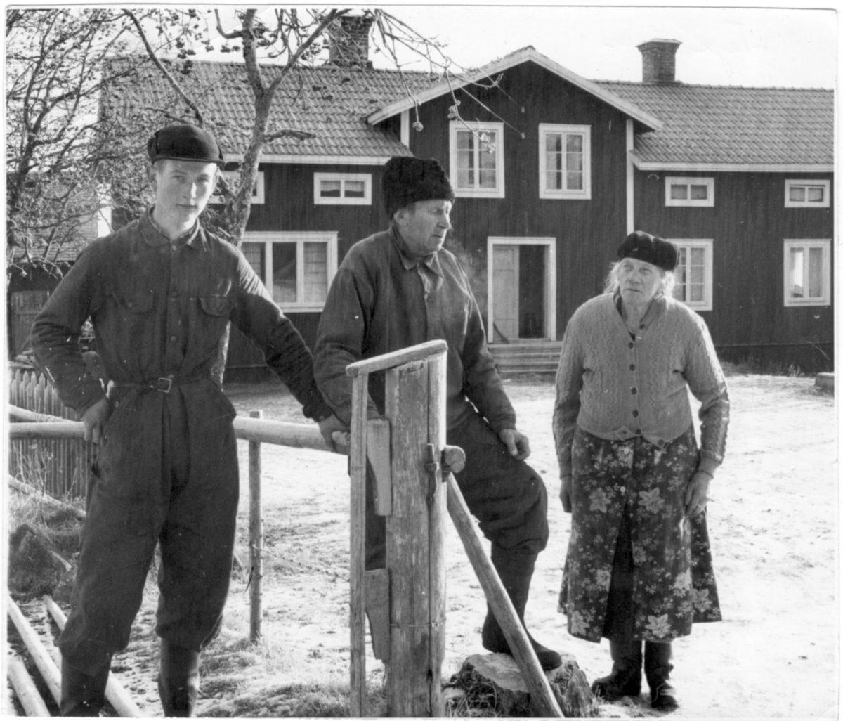 Tre människor står intill en gärdesgård som håller på att byggas.