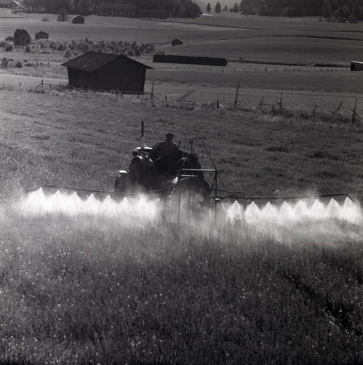 En man kör en traktor och besprutar åkermark.