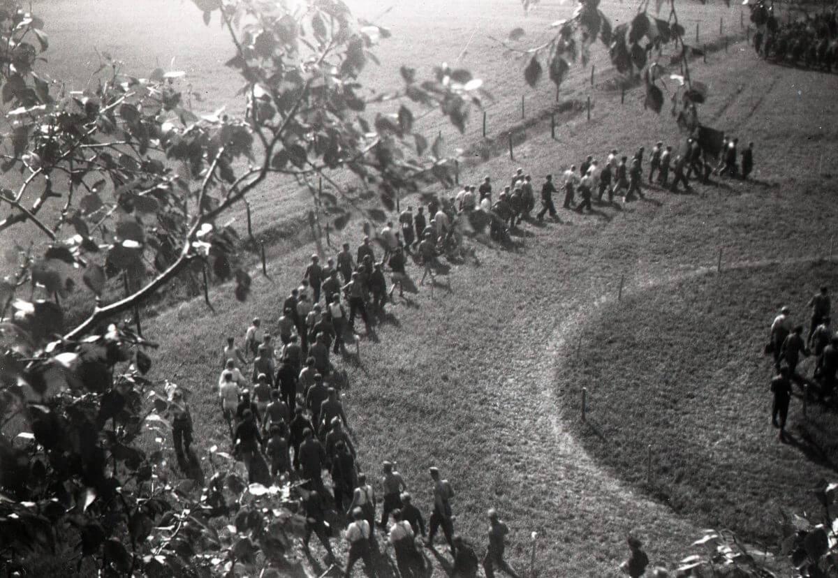 En stor grupp människor vandrar på rad över åkermark.