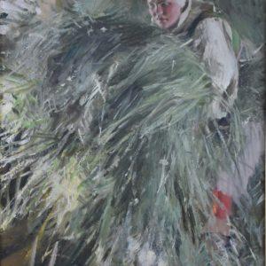 Kvinna på höloft