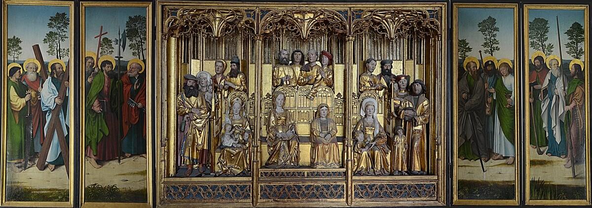 Förgyllt altarskåp med den heliga familjen