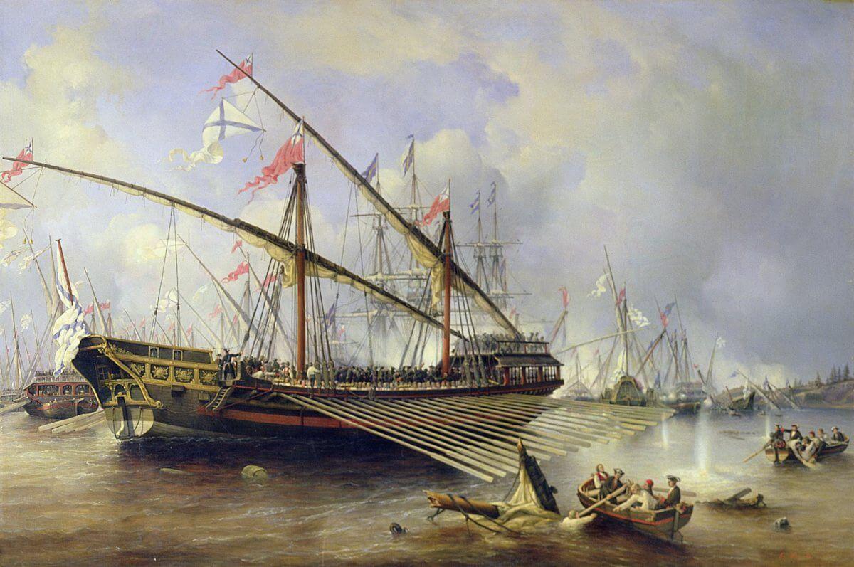 Rysk galär i arbete i slaget vid Föglöfjärden 1720, målning av Victor Perrot ca 1830.