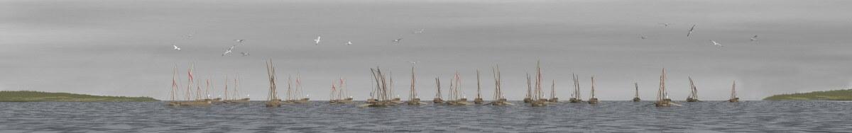 Galärflotta på väg in till Hudiksvall