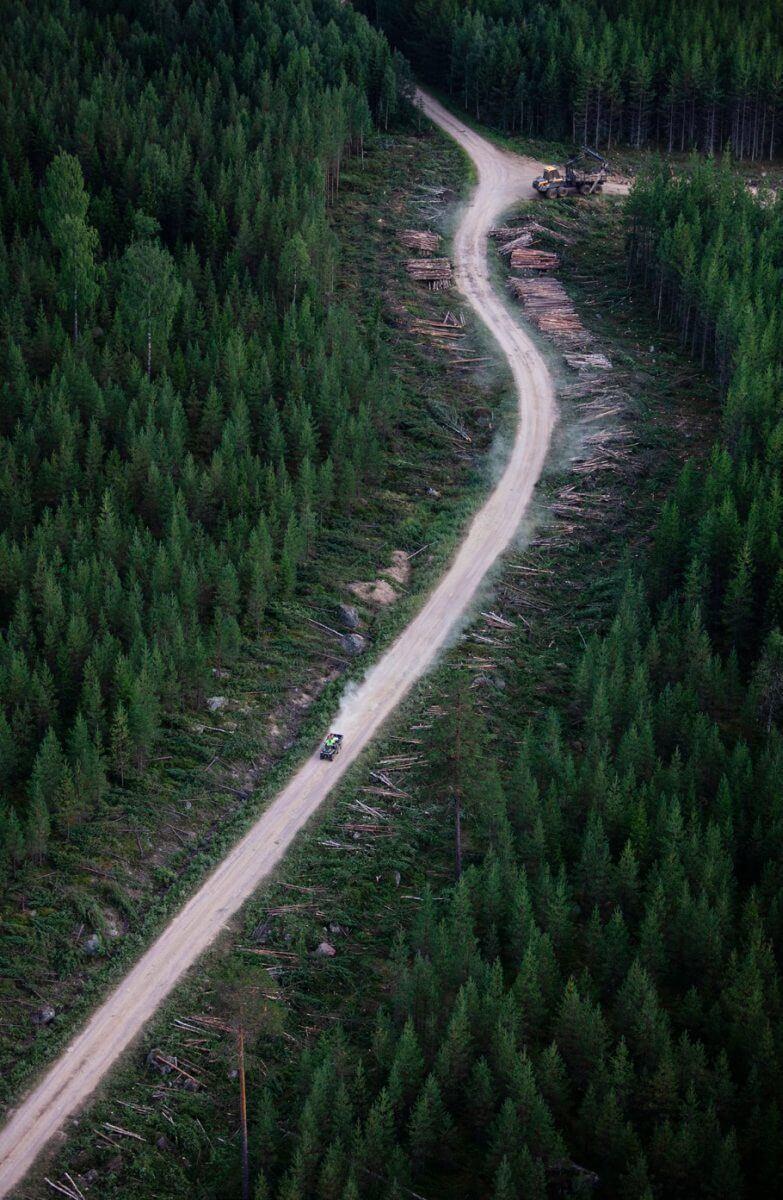 Fyrhjuling på skogsväg