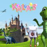 Bild på slott, drake, flygplan och robot i fantasilandskap.