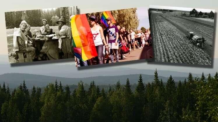 Fotomontage med tre bilder framför landskap. Från vänster: fikapaus, prideparad och åker med traktor.