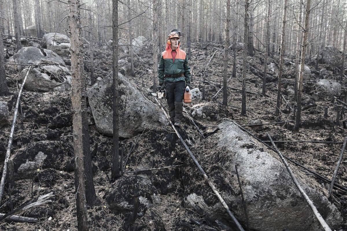 man med motorsåg och bensindunk går i nedbrunnen skog.